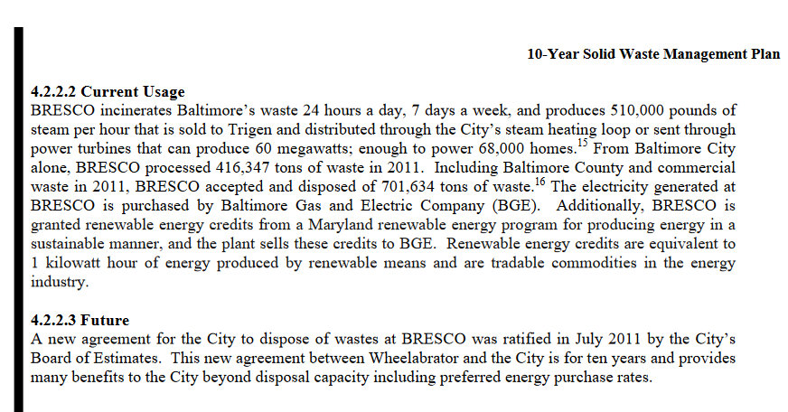 BRESCO section of Baltimore 10 Year Solid Waste Management Plan. (baltimorecity.gov)