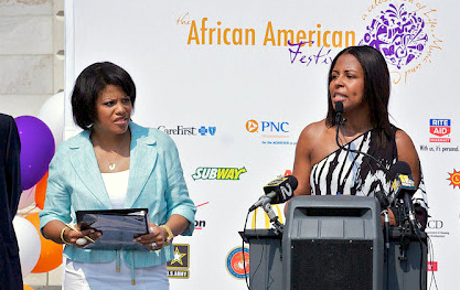In front of City Hall in April 2012, Mayor Rawlings-Blake and Shelonda Stokes announce plans for that summer's African American Festival. (Mark Reutter)
