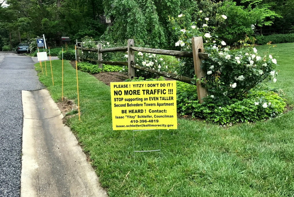 A placard addressed to Councilman Schleifer on Poplar Hill Road. (Dawne Allette)