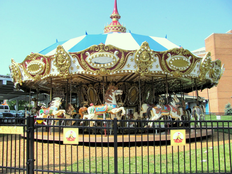 The Charm City Carousel, shown in operation in 2014, never attracted the kids expected. The absence of food and rest room facilities were sometimes cited as a cause. (Mark Reutter)