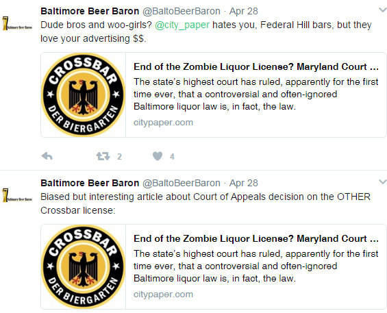 Some of the tweets by @BaltoBeerBaron (Steve Fogleman) responding to a Baltimore City Paper article on a Court of Special Appeals ruling on the Crossbar.