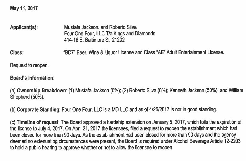 One of the documents posted by the Liquor Board for the 5/11/17 hearing on the application by Kings and Diamonds for permission to reopen. (Baltimore Liquor Board docket.)
