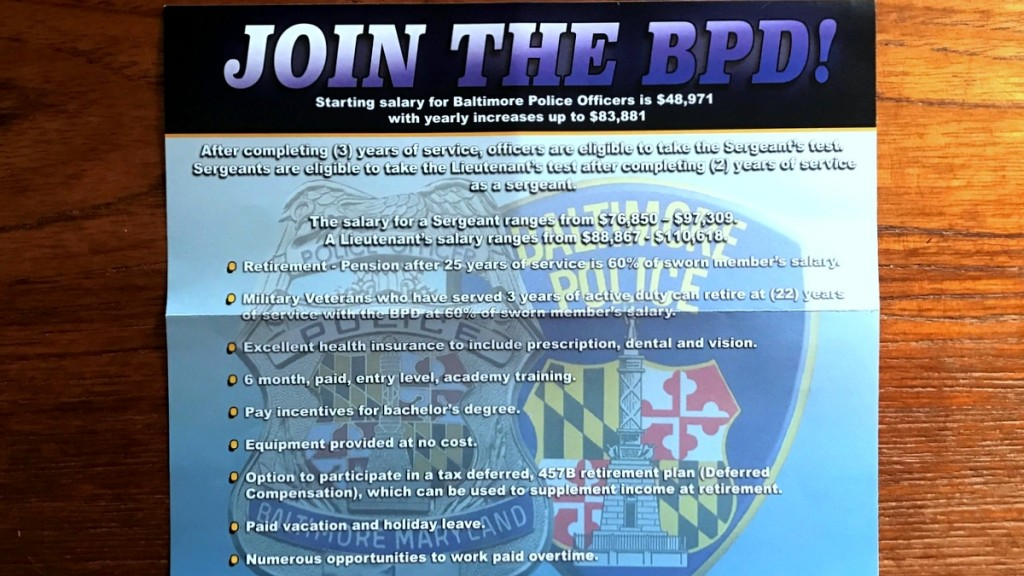 n its latest recruitment flyer, Baltimore Police advertise
