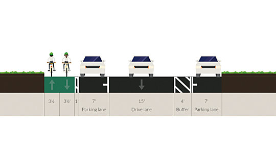 City's proposed reconfiguration of Potomac Street bike lane between Fait and Boston streets. (Mayor's Office)