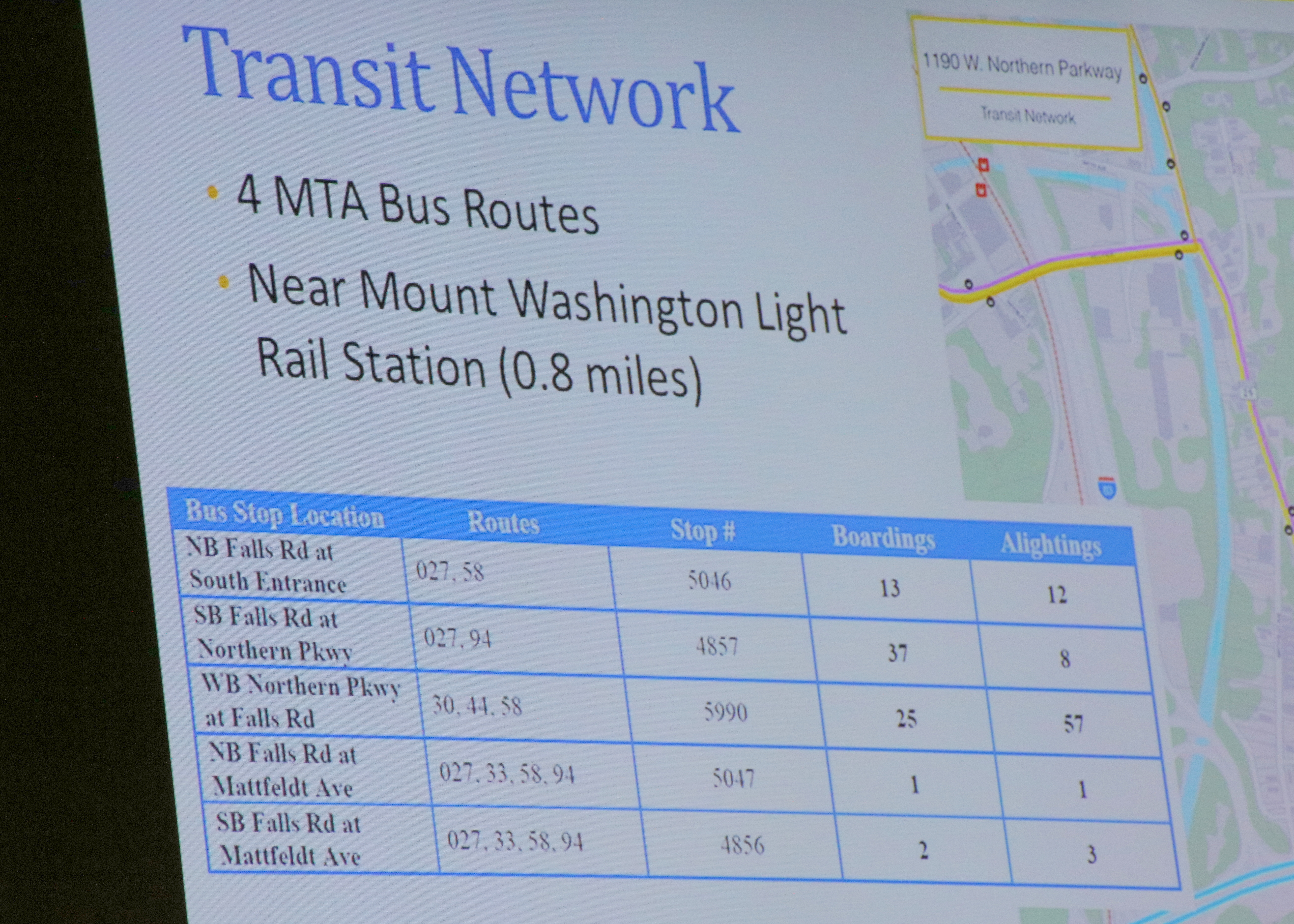 Transit information, from the city's Overlook at Roland Park Traffic Impact Study. (Baltimore Department of Transportation)