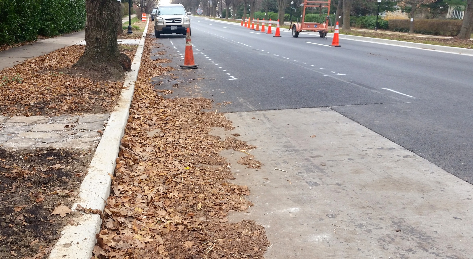 The Roland Avenue cycle track under construction in December 2015. (Mark Reutter)