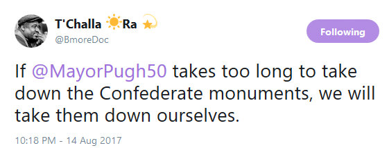 A tweet last night from the account of Lawrence Brown, assistant professor at Morgan State University. (Twitter)