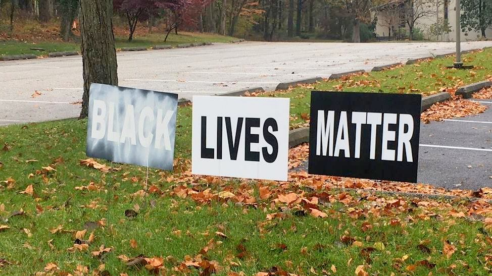A Black Lives Matter sign vandalized on Election Day 2016 at the Towson Unitarian Universalist Church just outside Baltimore. (Stephen F. Brown-Pearn)