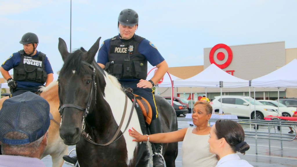 Baltimore's mounted police unit at Mondawmin mall for National Night Out, intended to improve police-community relations. (Louis Krauss)