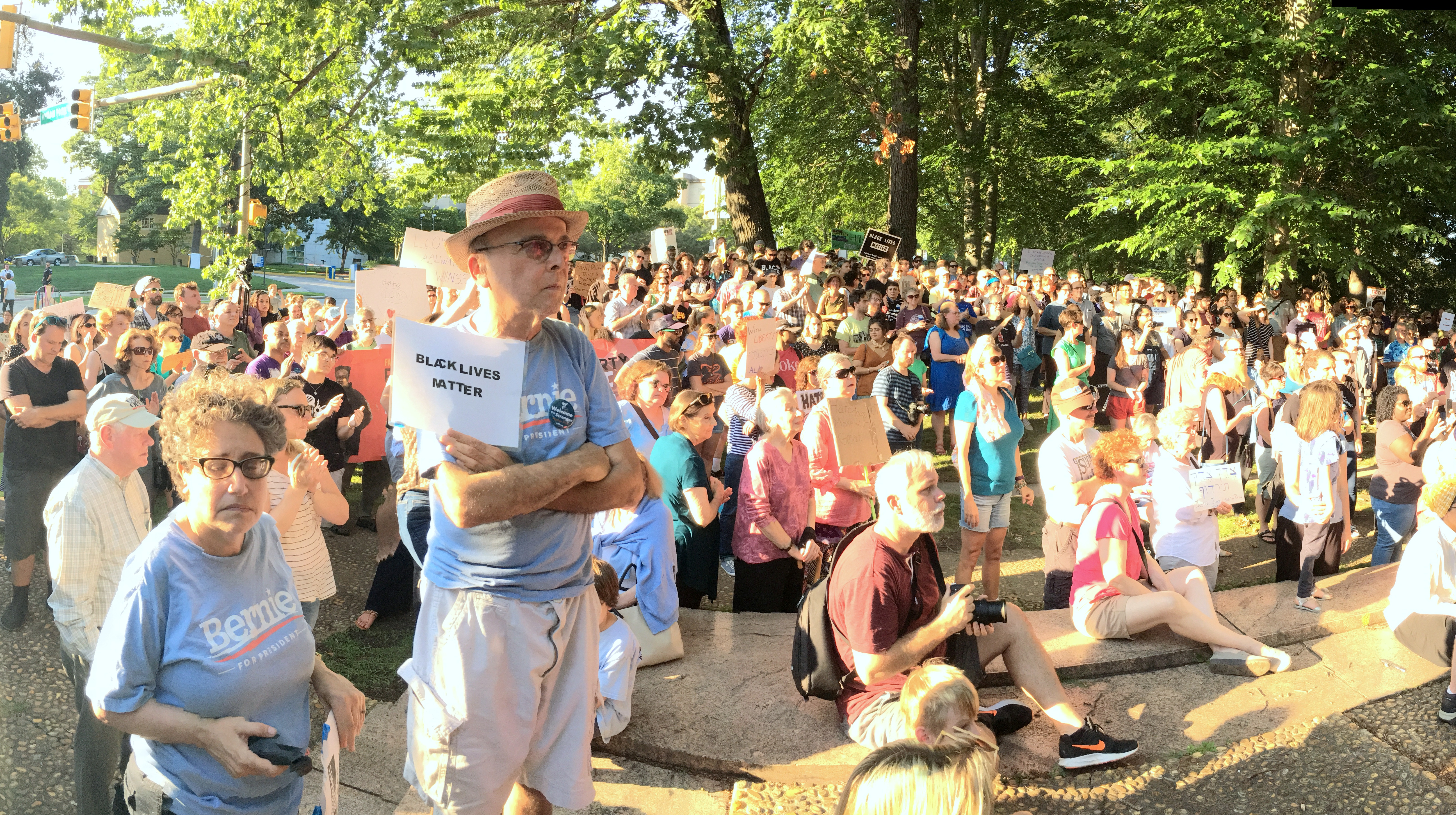 The crowd listens to speakers at the Lee-Jackson Monument. (Fern Shen)