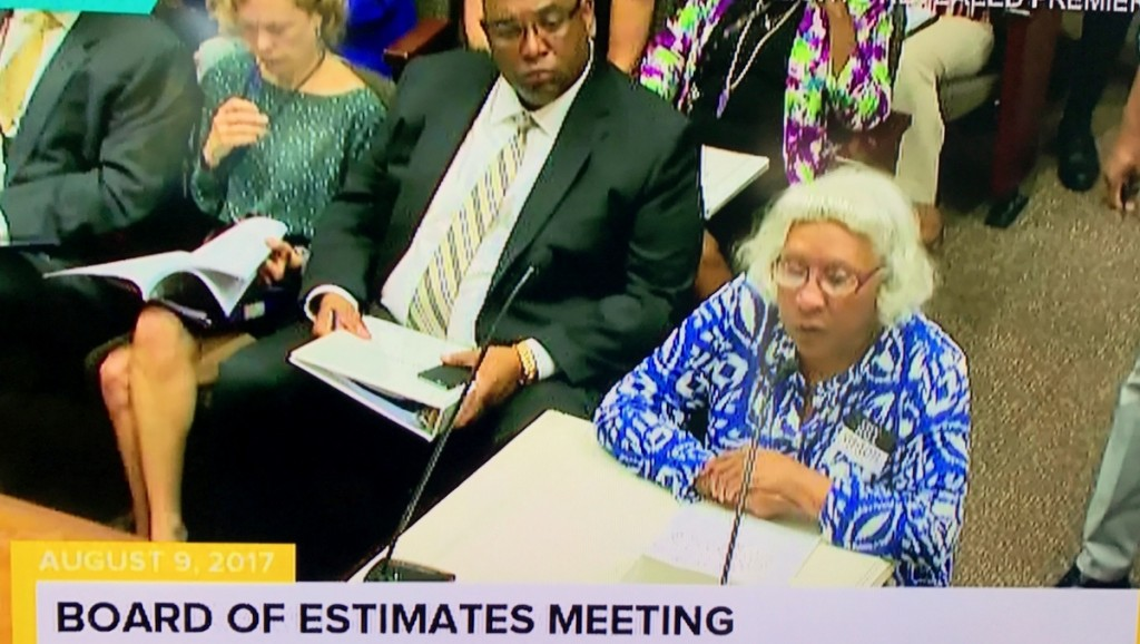 Helena Hicks addresses the Board of Estimates this morning. (Charm TV)