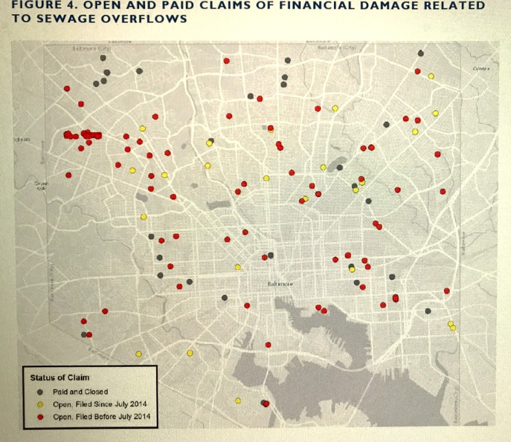 A map of the location of recent claims by homeowners of sewage backups in Baltimore. (Environmental Integrity Project)