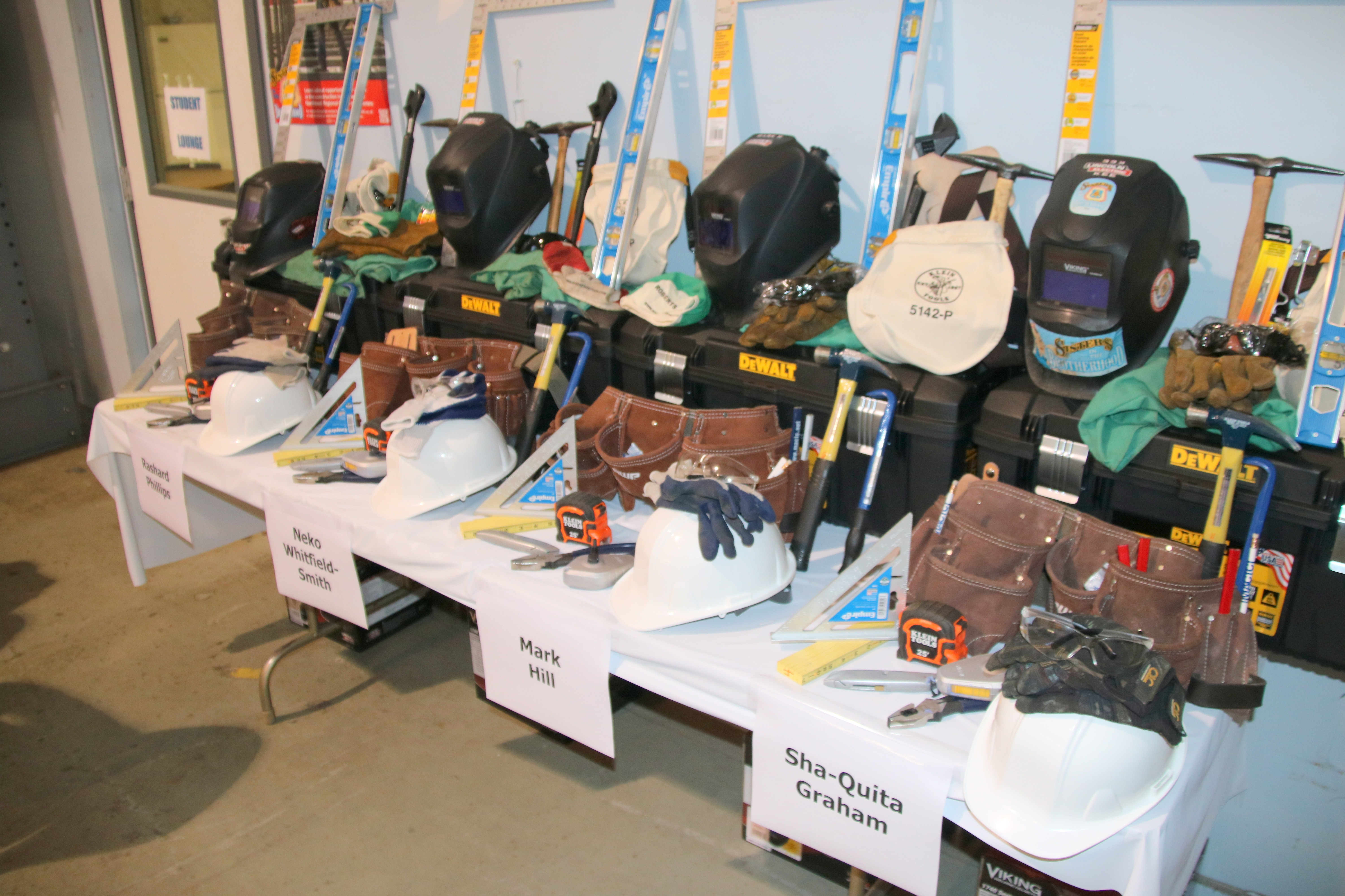 Tools of the trade lined up for graduates of the pre-apprenticeship program. (Louis Krauss)