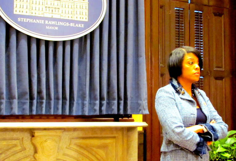 Rawlings-Blake stands in the press availability room of City Hall last year. (Mark Reutter)