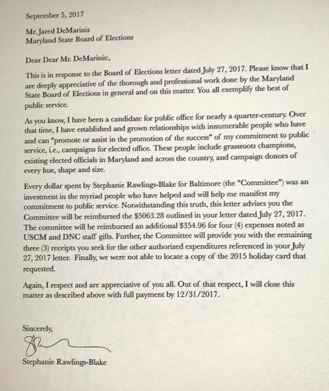 The former mayor's letter to the state Elections Board, agreeing to reimburse her campaign committee for unauthorized expenditures, includes several grammatical mistakes (