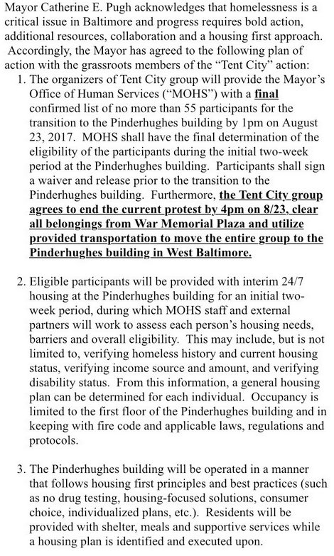 A portion of the agreement between Tent City participants and the Pugh Administration.