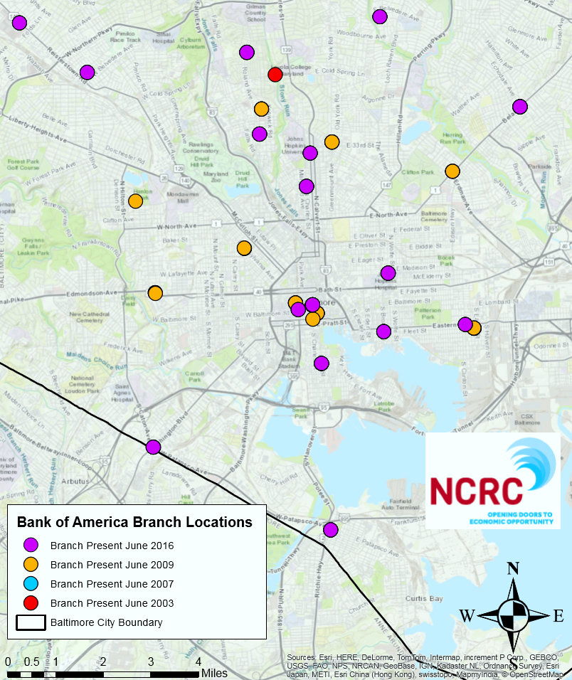 Bank of America branch retreat in Baltimore. Data precedes the closure of 6538 Reisterstown Road. (Source: National Community Reinvestment Coalition)