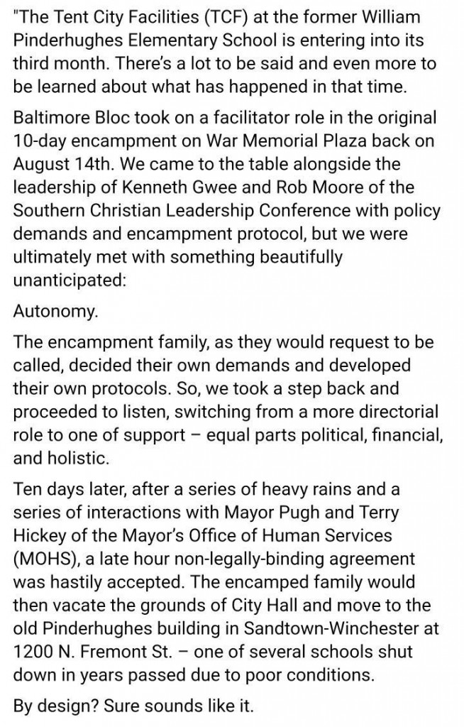 Baltimore Bloc statement on Tent City. 10/31/17