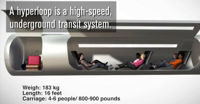 One of the depictions of the Hyperloop released by the Boring Co. (LA Times graphic.)