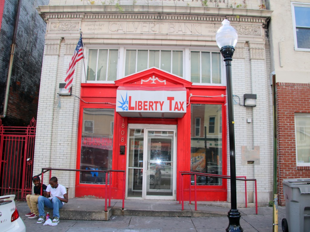 Closed a few years ago, this former bank of America branch is now occupied by a tax preparer. (Fern Shen)