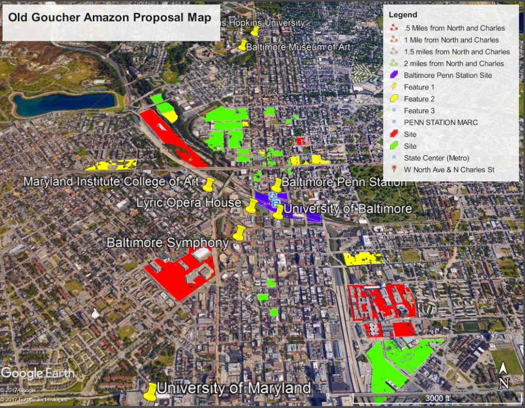 This map from the Old Goucher proposal shows potential Amazon sites in north central Baltimore. (Old Goucher Community Association)