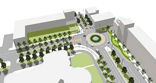 A conceptual drawing of the Key Highway-Light Street traffic circle. (Baltimore DOT, 2009)