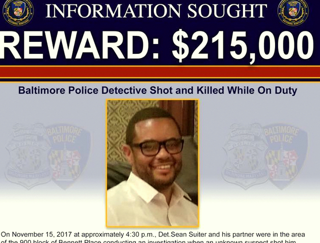 An excerpt from the flyer reissued today with higher reward money for information leading to those responsible for the death of Detective Suiter. (Baltimore Police)