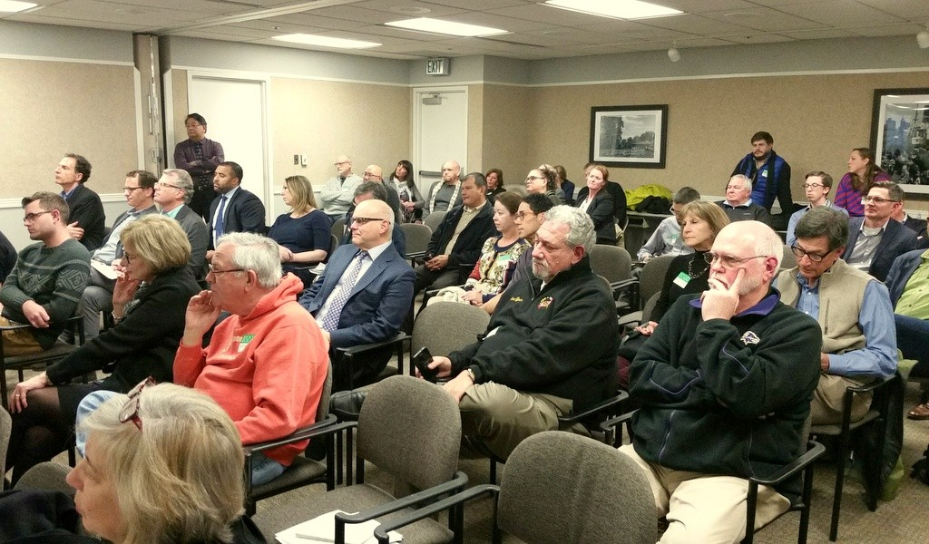 Yesterday's CHAP meeting was crowded. Developer Dennis Richter can be seen at far upper right of this picture. (Ed Gunts)
