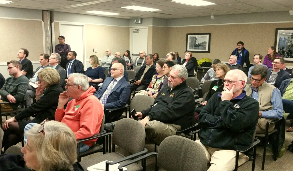 The CHAP hearing on Richter's plan for the Eddie's site attracted a large audience. (Ed Gunts)