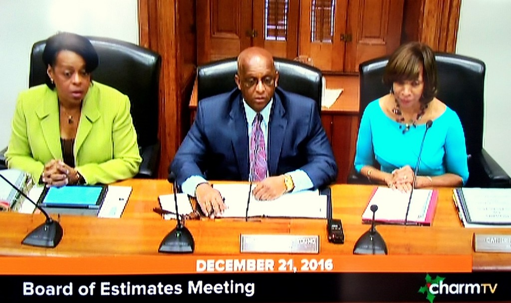 The three elected officials on the Board of Estimates: Comptroller Joan Pratt, Council President Jack Young and Mayor Catherine Pugh. (CharmTV)
