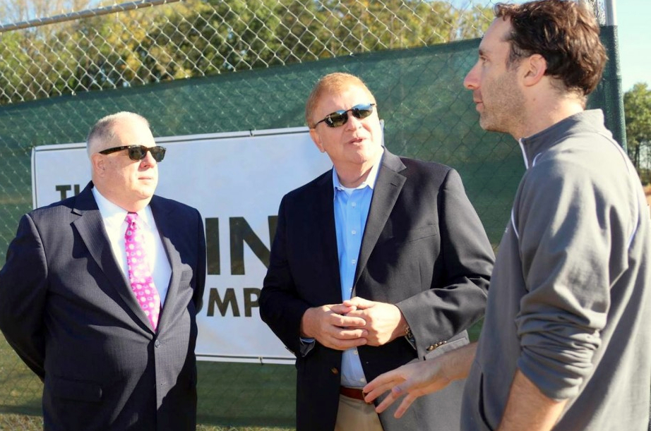 Gov. Larry Hogan and Transportation Secretary Pete Rahn at the site of a future Hyperloop test site, speaking to a Boring Co. representative. (Larry Hogan Facebook)