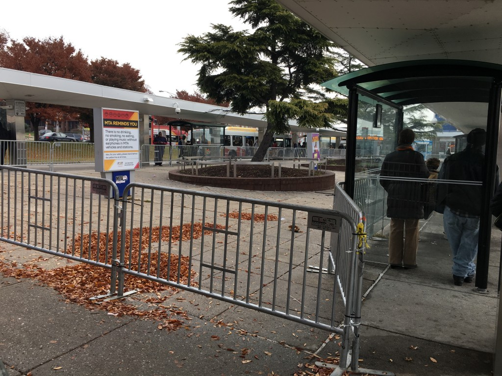 Barriers close off the central part of the Mondawmin Metro-bus transit hub. (Fern Shen)