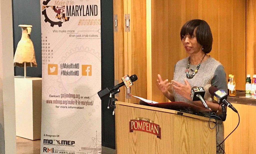 Mayor Catherine Pugh speaks last month at an event organized by Wal-Mart and Pompeian, the olive oil maker. (YouTube)