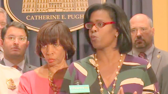 Baltimore City Public Schools CEO Sonja Santelises, with Mayor catherine Pugh at left, addresses crime and violence reduction strategies. (YouTube)