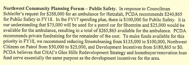 It's a bit convoluted, but here PCDA chairman Stosur explains the budgetary impact of Councilman Schleifer's requests for money for a patrol car and ambulance. (Pimlico Community Development Authority)