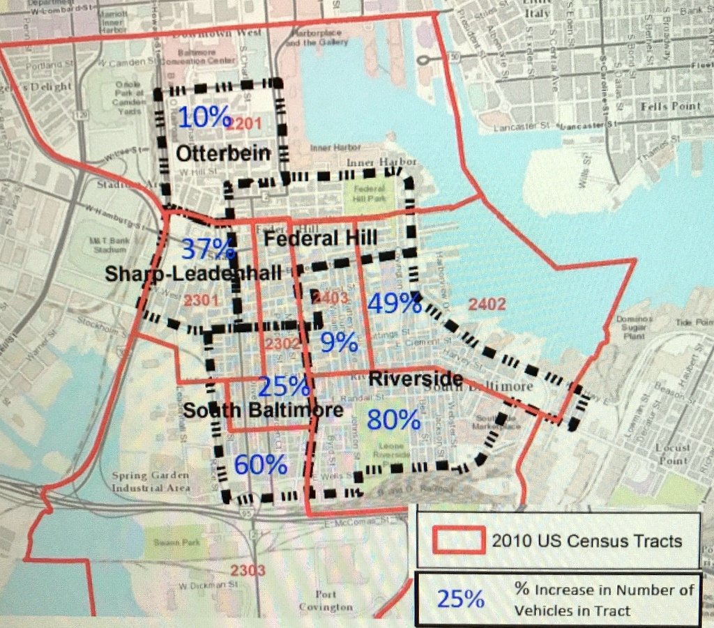 Percent increases in vehicle ownership by neighborhoods, 2000-now. (South Baltimore Gateway Parking Study)