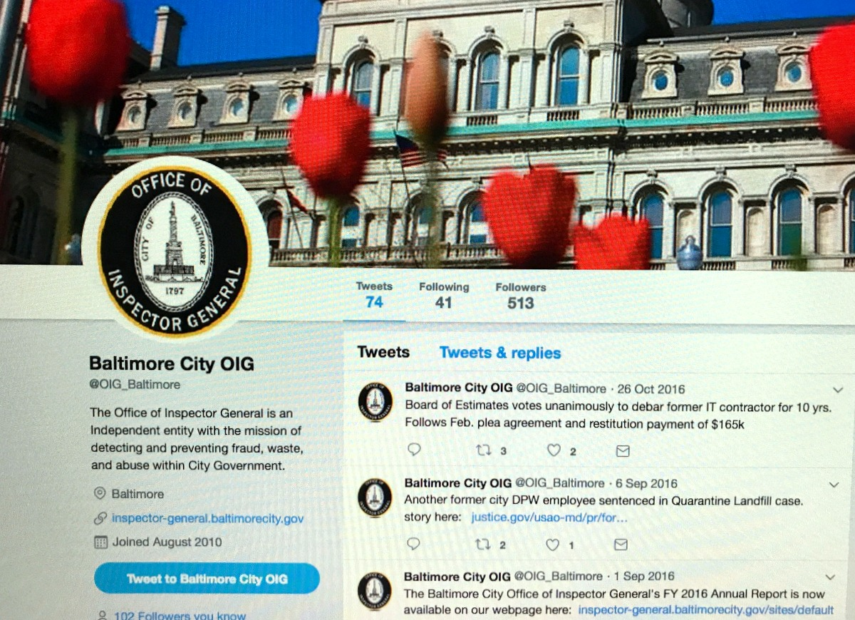 The OIG's twitter account has laid dormant since October of last year. (@oig_baltimore)