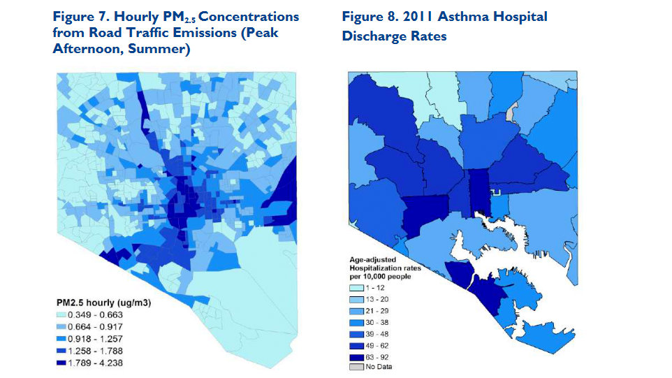 Traffic emissions levels in Baltimore (left) and asthma-related hospital discharge rates. (Environmental Integrity Project.)