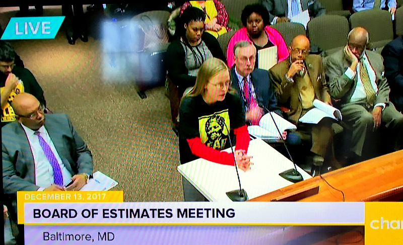 Jennifer Kunze, a southwest resident and member of the Housing Roundtable, implored the Board of Estimates to quadruple bond spending for affordable housing and vacant house removal. (CharmTV)