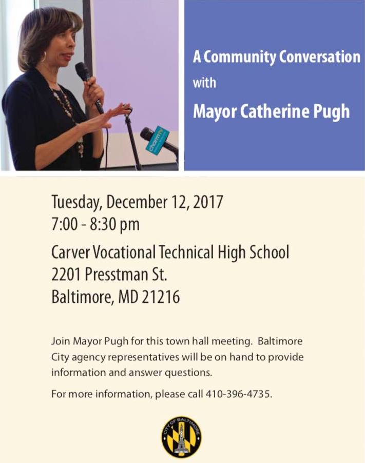Online notice for Mayor Pugh's December 12 meeting.