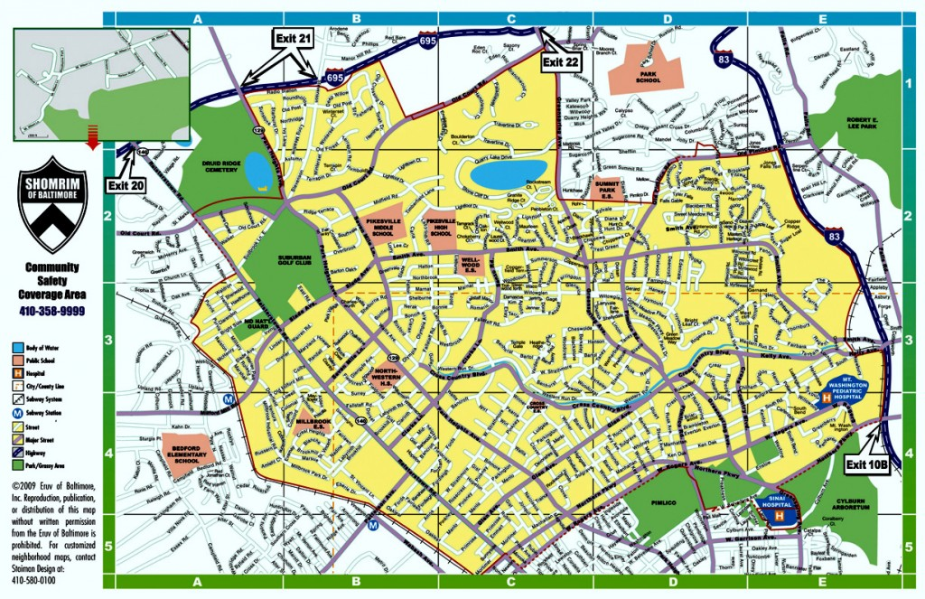 Map of Shomrim's patrol coverages extends in Baltimore County to the Beltway and to I-83 at Old Pimlico Road. The radius for the spending of Pimlico slots money is far smaller and all within Baltimore City. (Baltimore Shomrim website and Pimlico Community Development Authority)