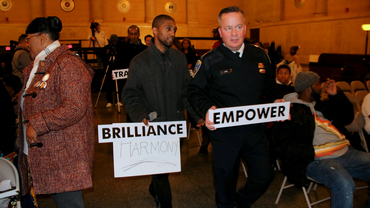 Councilman Brandon Scott and Police Commissioner Kevin Davis. (Fern Shen)
