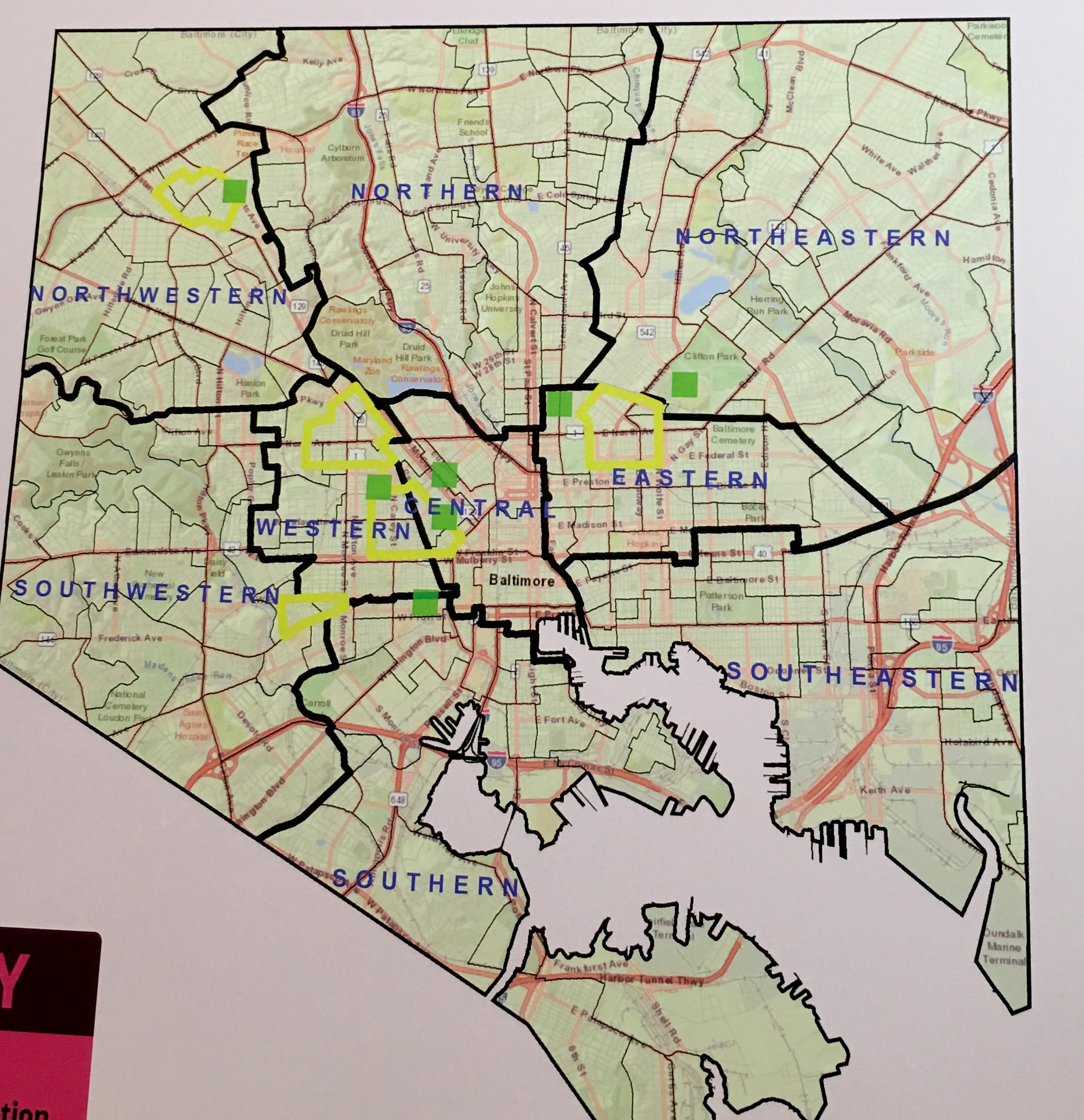 Outlined in yellow, five zones targeted for atention under Mayor Pugh's Multi-Agency Initiative to reduce crime.