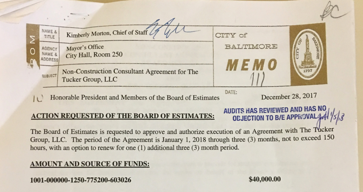 Memo by Pugh's chief of staff, Kimberly Morton, requesting $40,000 for The Tucker Group, which was approved by auditor Gloria Harper on January 5. (Office of the Comptroller)