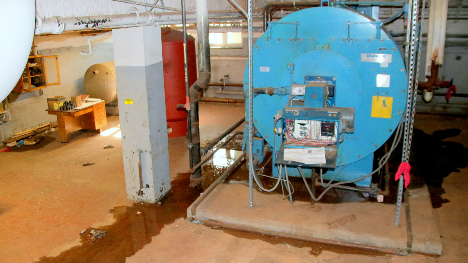 Two of the three boilers at Frederick Douglass High School, including this one, were not working Saturday. (Fern Shen)