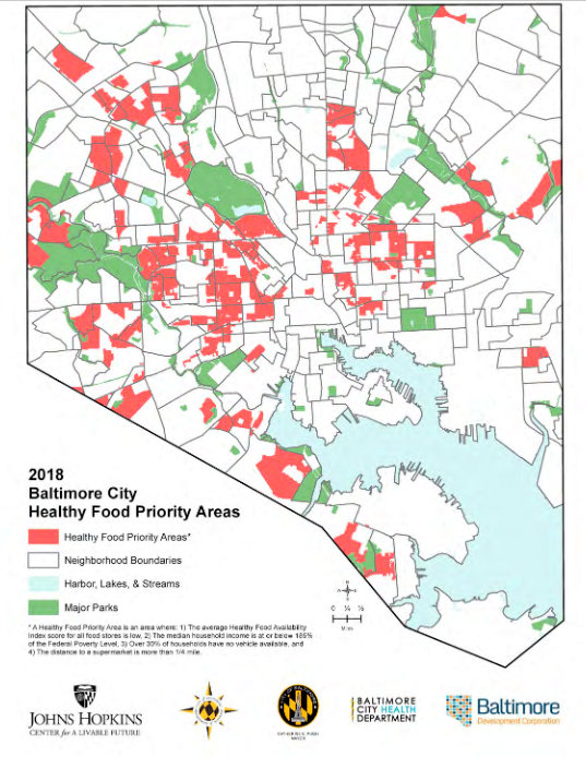 Healthy Food Priority Areas (aka food deserts) in Baltimore's 2018 report.