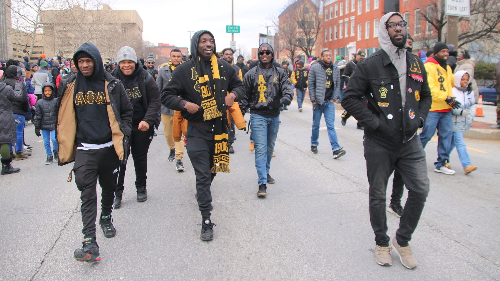 The brothers from Alpha Phi Alpha were out in force. (Fern Shen)