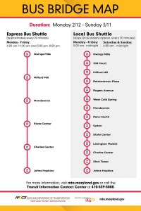 Schedule for buses provided during the Metro shut-down. (Maryland Transit Administration)