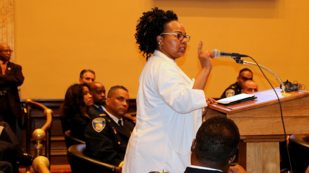 Acting Baltimore Police Commissioner Darryl De Sousa listens to testimony during his confirmation hearing. (Fern Shen)