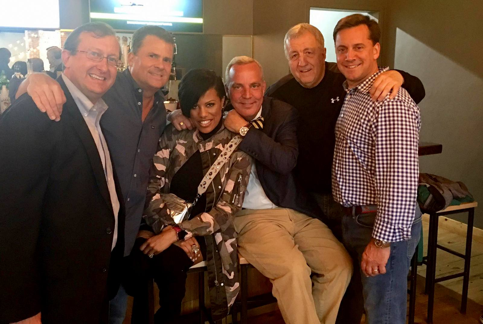 (Joseph Woolman (second from left) last year celebrating the opening of the Crossbar der Biergarten with Steve Fogleman, Stephanie Rawlings-Blake, Peter Auchincloss, Ed Reisnger and Brian McComas. (Facebook)